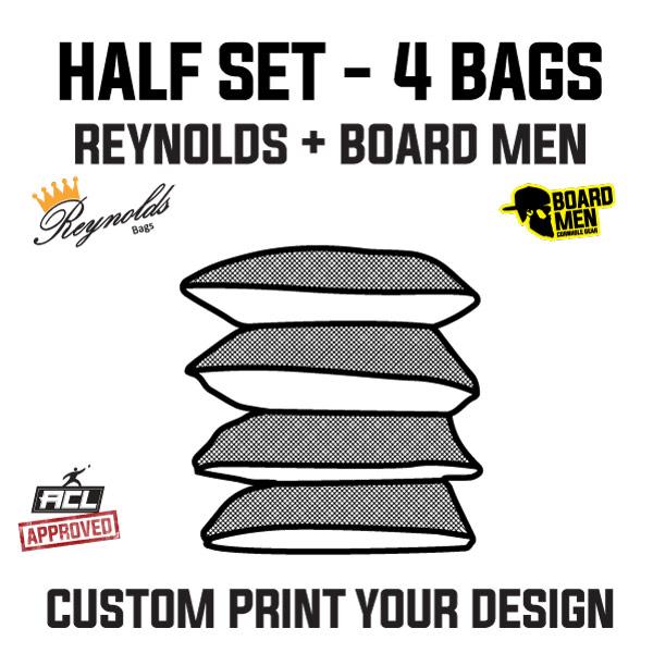 Reynolds/Board Men – Pro Edge 2 – Custom Printed Cornhole Bags – ACL Approved Half Set (4 Bags)